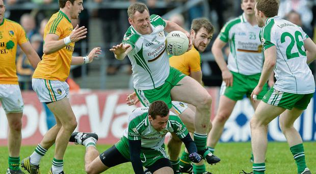 Lorcan Mulvey, London, in action against Kevin Conlon