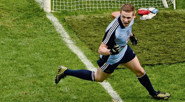 Paul Mannion celebrates after scoring against Mayo in the NFL semi-final at Croke Park