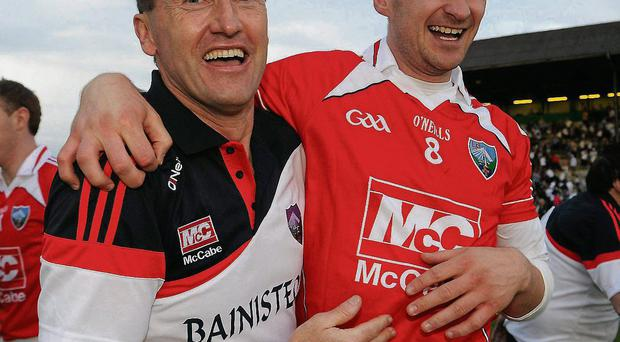 Louth manager Peter Fitzpatrick celebrates with Paddy Keenan after their victory against Kildare in the 2010 Leinster