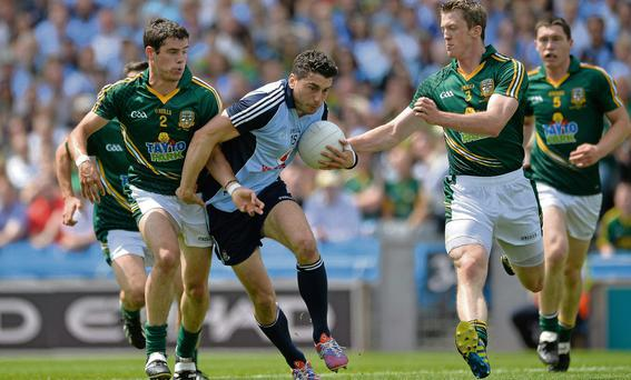 Bernard Brogan takes on the Meath defence during the Leinster final