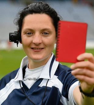 Referee Maggie Farrelly sporting the ref-cam