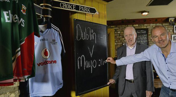 Dublin and Mayo midfield legends Brian Mullins and Liam McHale at Dublin sponsors Vodafone's All-Ireland final preview special at Paddy Cullen's bar yesterday