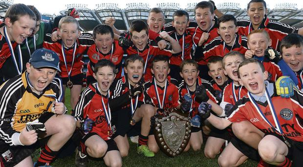 The Holy Trinity NS, Donaghmede, celebrate with the cup after their Cumann na mBunscol victory