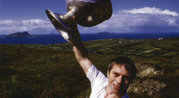 Paidi O Se, captain of Kerry All-Ireland winning team in 1985 with the Sam Maguire cup