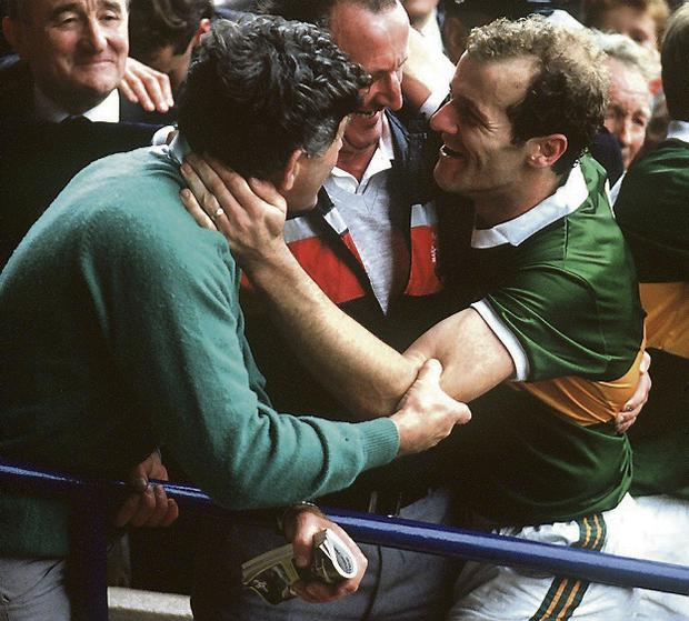Kerry's Mick O'Dwyer and Jack O'Shea after beating Tyrone in 1986