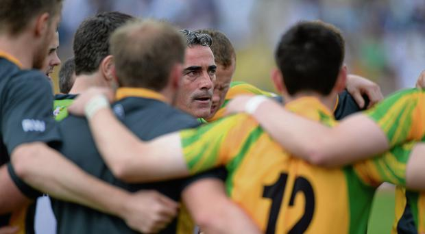Jim McGuinness speaks to his Donegal players