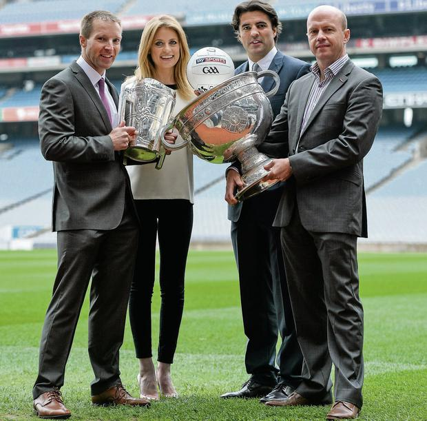 Presenters Rachel Wyse and Brian Carney, with hurling analyst Jamesie O'Connor and football analyst Peter Canavan, at the launch of Sky Sports' GAA coverage in Croke Park yesterday Brendan Moran/SPORTSFILE