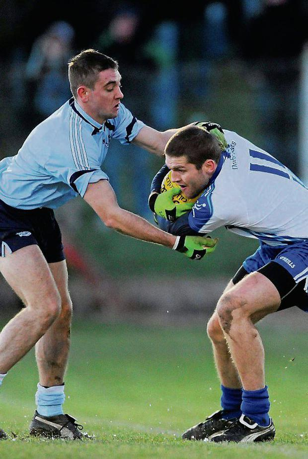 Shane McGrath in action against Conal Keaney during the traditional new year 'Dubs Stars' challenge