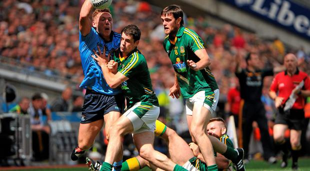 Dublin's Paul Flynn attempts to escape the challenge of Meath trio Donal Keogan, Michael Burke and Brian Meade