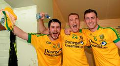 Donegal's Ryan McHugh, Luke Keaney and Patrick McBrearty celebrate after their Ulster GAA Football Senior Championship Final win over Monaghan