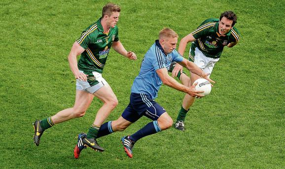 Eoghan O'Gara, in action here against Kevin Reilly and Eoghan Harrington, is Dublin's best option for full-forward