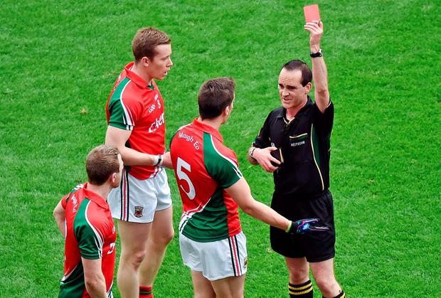 Mayo's Lee Keegan is red-carded at Croke Park this year