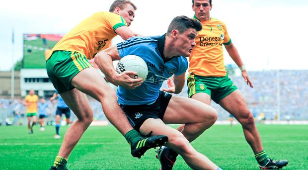 Dublin and Donegal in action in last year's All Ireland semi-final