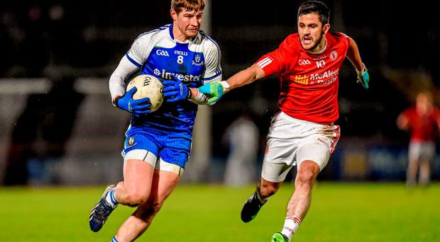 Darren Hughes, Monaghan, in action against PJ Lavery, Tyrone, as the Tyrone football squad has been hit by another defection with PJ Lavery the latest player to walk away in the wake of the Red Hands' relegation to Division 2 of the Allianz Football League