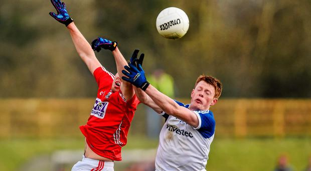 Colm O'Driscoll, Cork, in action against Ryan McAnespie, Monaghan