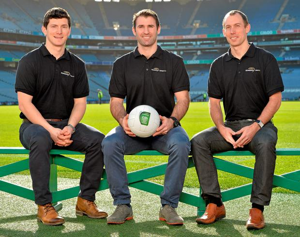 Michael Meehan, Bryan Cullen and Eoin Kennedy (EirGrid's principal engineer and All-Ireland Singles handball champion) at the announcement of EirGrid as the new sponsor of the U-21 All-Ireland Football Championship