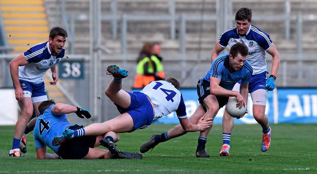 Dublin's Jack McCaffrey evades Kieran Hughes at Croke Park on Sunday in a game worth 'several training sessions' to Monaghan