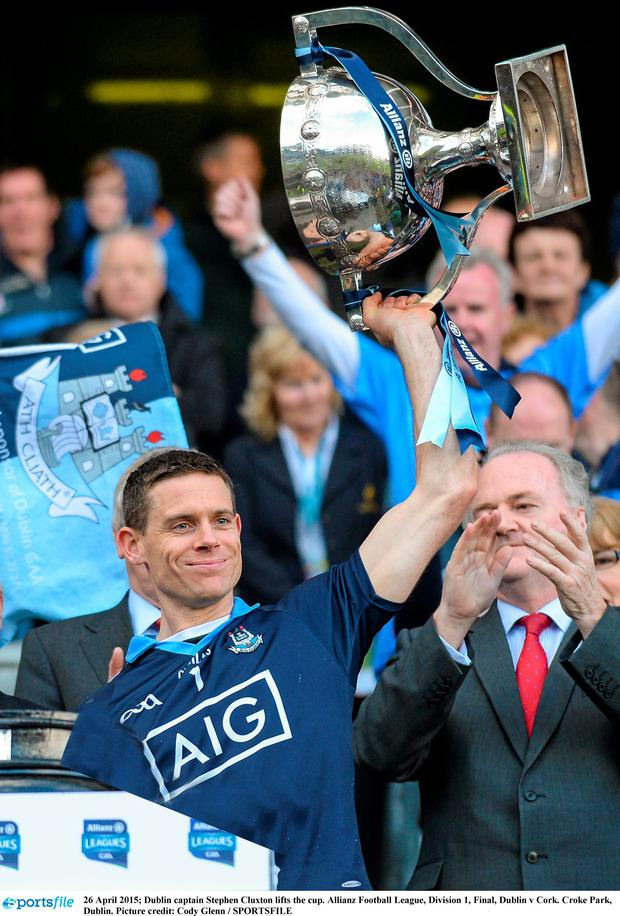 Stephen Cluxton lifts the league trophy for Dublin