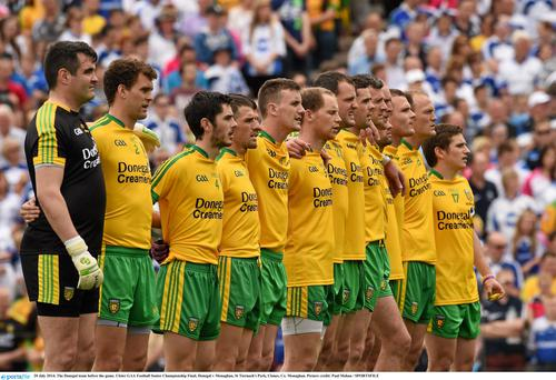 The Donegal team line up before last year's Ulster final against Monaghan.