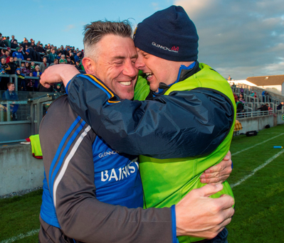 Longford manager Jack Sheedy celebrates with kit man Shane Donoghue after their victory against Offaly RAY McMANUS/SPORTSFILE