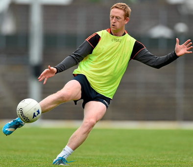 Colm Cooper goes through his paces during the Kerry training session in Fitzgerald Stadium in Killarney last night