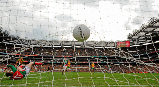 Donegal's Michael Murphy fires the ball into the net in the opening minutes of the 2012 All-Ireland final against Mayo