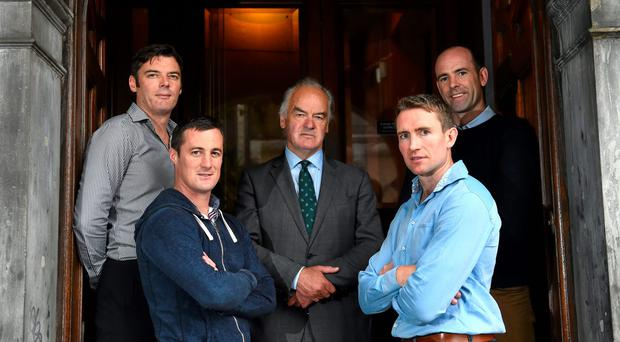19 August 2015; In attendance at the announcement of the GPA's Former Players Event which takes place in Croke Park on Saturday, September 19th, at 2.30pm are former players, from left to right, Sligo footballer Dara McGarty, Tyrone footballer Brian McGuigan, Dublin footballer Tony Hanahoe, Kilkenny hurler Eddie Brennan and Kildare footballer Dermot Earley. Dublin City Centre. Picture credit: Ramsey Cardy / SPORTSFILE
