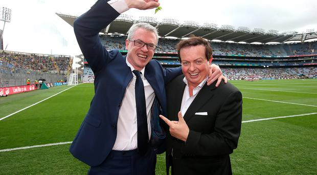 Joe Brolly and Marty Morrissey at Croke Park yesterday