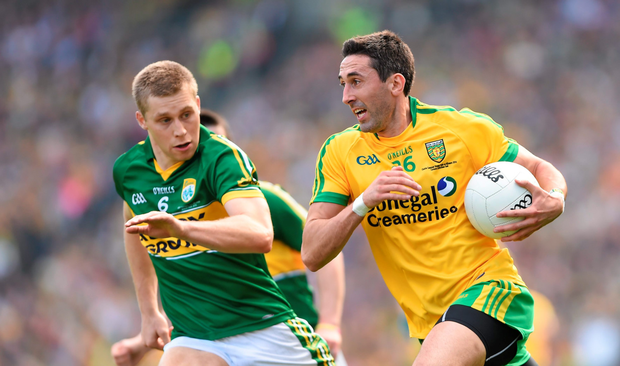 Rory Gallagher (right), taking on Peter Crowley in 2014, is hoping his inter-county return can end in glory for Donegal (SPORTSFILE)