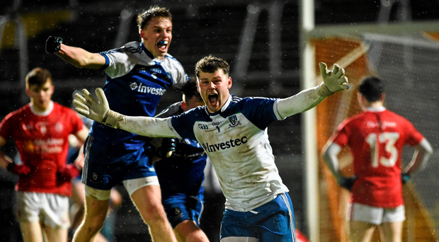 Monaghan's Conor Forde celebrates at the final whistle of their Ulster U-21 FC final win over Tyrone Oliver McVeigh / SPORTSFILE