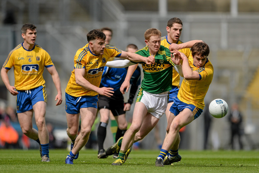 Colm Cooper is squeeze out by the Roscommon defence during Sunday's clash, which did nothing to support the argument for retaining the semi-finals (SPORTSFILE)