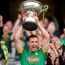 Meath captain James Toher lifts the Christy Ring Cup yesterday. Photo: Piaras Ó Mídheach
