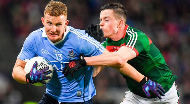 Dublin's Ciarán Kilkenny in action against Mayo's Stephen Coen during the Allianz Football League match at Croke Park. Photo by Brendan Moran