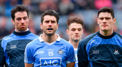 Michael Darragh Macauley, Bernard Brogan and Diarmuid Connolly preparing to stand for the team photo last Sunday – these leaders have plenty more to give to the Dublin cause, but it's hard to know how much longer they can go on dominating games like they've done for so many seasons. Photo: Sportsfile