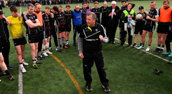 Sligo boss Niall Carew addresses his players after their victory over New York earlier this month Photo: Stephen McCarthy/Sportsfile