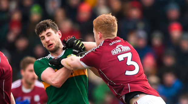 Sean Andy Ó Ceallaigh of Galway reacts towards Paul Geaney after he and Johnny Hanratty were shown black cards by referee Fergal Kelly Photo: Sportsfile