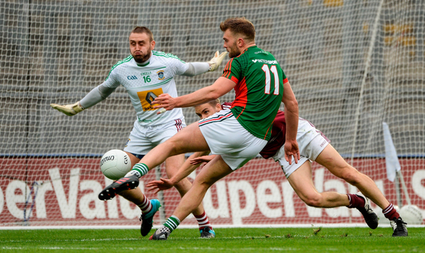 Mayo's Aidan O'Shea scores his side's third goal against Westmeath, who were knocked out of the Qualifiers at the Round 4 stage after losing the 2016 Leinster final Photo: Daire Brennan/Sportsfile