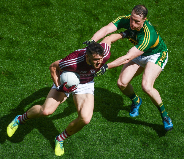 Galway's Damien Comer leaves Kerry's Mark Griffin in a spin during last year's All-Ireland quarter-final. Galway have serious attacking talent, but only if the shackles are removed Photo: Stephen McCarthy/Sportsfile