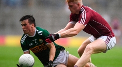 Paul Murphy of Kerry is closed down by Galway's Seán Andy Ó Ceallaigh Photo: Sportsfile