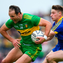 Michael Murphy of Donegal in action with Roscommon's Niall McInerney during yesterday's Super 8 Clash at Dr Hyde Park in Roscommon. Photo: Sportsfile