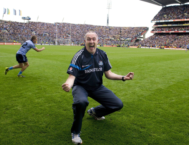 A delighted Pat Gilroy celebrates Dublin's victory over Kerry in the 2011 All-Ireland final