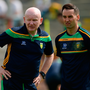 Donegal manager Declan Bonner with Karl Lacey who looks set to step down as one of his selectors. Photo: Sportsfile