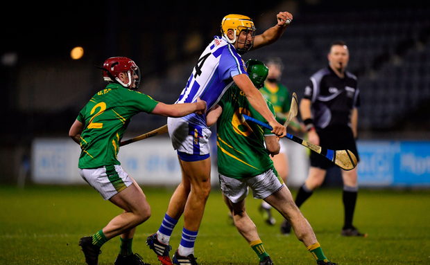 Conor Dooley of Ballyboden St Enda's collides with Clonkill's Paddy Dowdall during the Dubliners' 2-25 to 2-19 win in last night's Leinster SHC quarter-final. Photo: Sportsfile