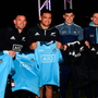All Blacks Damian McKenzie, Ryan Crotty and Codie Taylor with Dublin hurler Eoghan O'Donnell and footballers Stephen Cluxton and Cormac Costello at an AIG Skills Challenge in Castleknock Golf Club. Photo: Sportsfile