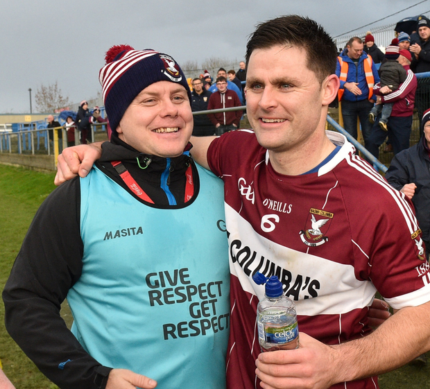 Mullinalaghta manager Mickey Graham and captain Shane Mulligan. Photo by Matt Browne/Sportsfile