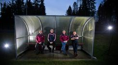 Frank Mulligan, Seamus Fitzpatrick, Paddy Brady and Joe Rogers: 'That's the border,' says Mulligan. 'That is Leinster and Ulster, Mullinalaghta and Gowna, Cavan and Longford.' Photo: Mark Condren