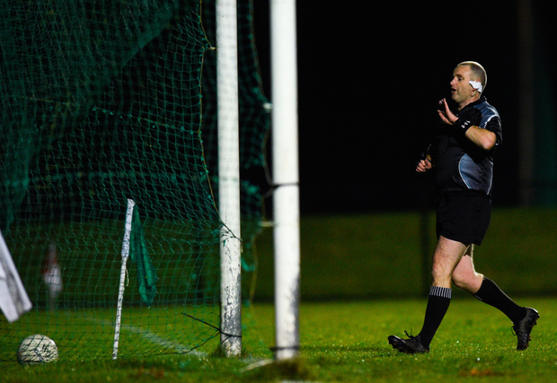 Referee David O'Connor rules out a Wexford goal due to a fourth handpass. Photo: David Fitzgerald