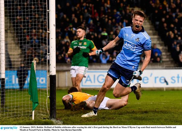 Robbie McDaid of Dublin celebrates after scoring his side's first goal during the Bord na Mona O'Byrne Cup semi-final match between Dublin and Meath at Parnell Park in Dublin. Photo by Sam Barnes
