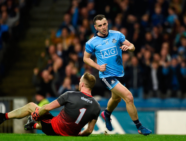 Dublin's Cormac Costello celebrates after scoring his side's only goal during last night's Allianz Football League win over Mayo at Croke Park. Photo: Daire Brennan