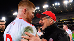 Mickey Harte celebrates with Cathal McShane following Tyrone's victory over Dublin in the Allianz Football League last week. Photo: Piaras Ó Mídheach. Photo: Piaras Ó Mídheach
